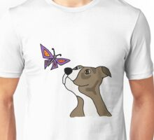 Cool Funky Funny Pitbull Puppy and Butterfly Unisex T-Shirt