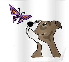 Cool Funky Funny Pitbull Puppy and Butterfly Poster
