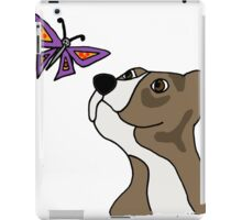 Cool Funky Funny Pitbull Puppy and Butterfly iPad Case/Skin