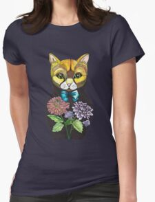 Dahlia, Tattoo style Russian doll cat Womens Fitted T-Shirt