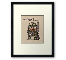Soldier with his riffle illustration Framed Print