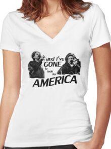 Simon & Garfunkel-America Women's Fitted V-Neck T-Shirt
