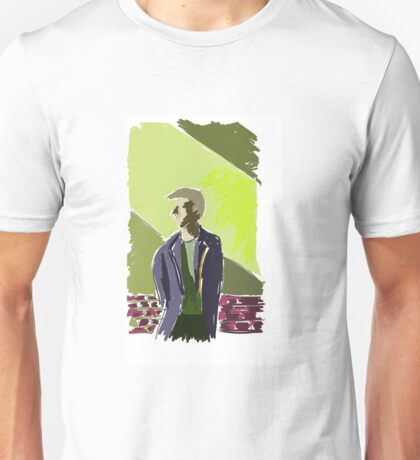 Man and green wall Unisex T-Shirt