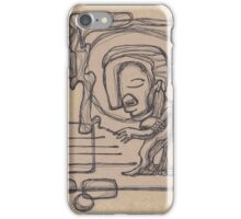 Abstract man smoking a cigarrette illustration iPhone Case/Skin