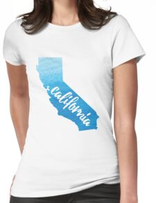 California - blue watercolor  Womens Fitted T-Shirt