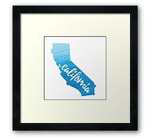 California - blue watercolor  Framed Print