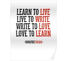 Learn To Live, Live To Write Poster
