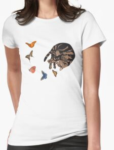 Sleeping Cat with Butterflies Womens Fitted T-Shirt