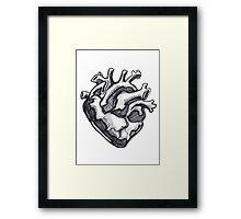 Human heart ink drawing Framed Print