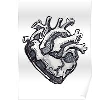 Human heart ink drawing Poster