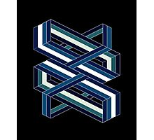 Isometric poetry - blue and green  Photographic Print