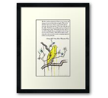 Ode to Bird's Melancholic Music (with original poem by Zackary Brownlee)  Framed Print