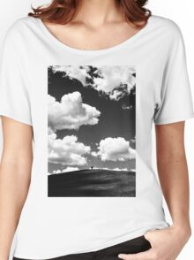 A lone tree under a heavy white cloud in black and white Women's Relaxed Fit T-Shirt