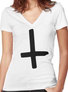 Black Inverted Cross Women's Fitted V-Neck T-Shirt