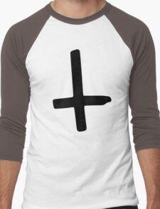 Black Inverted Cross Men's Baseball ¾ T-Shirt