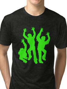 Crazy Neon Green Zombie Silhouettes Tri-blend T-Shirt