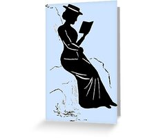 Late Victorian - era silhouette of a lady reading Greeting Card