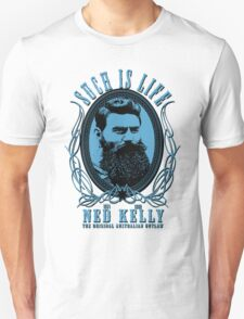 Ned Kelly - Original Outlaw Design in blue T-Shirt
