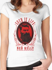 Ned Kelly - Original Outlaw Design in red Women's Fitted Scoop T-Shirt