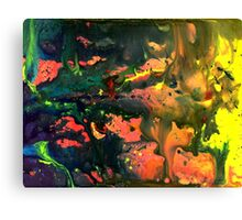 Orange Green Liquid Abstract Painting Canvas Print