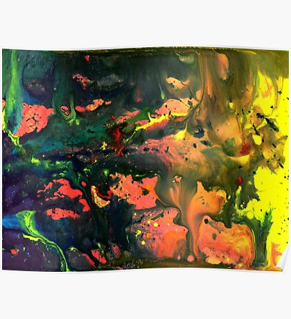 Orange Green Liquid Abstract Painting Poster