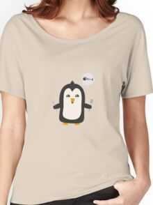 Penguin with fish   Women's Relaxed Fit T-Shirt