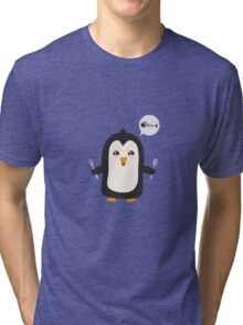 Penguin with fish   Tri-blend T-Shirt