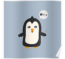 Penguin with fish   Poster