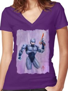 ROBcop Women's Fitted V-Neck T-Shirt