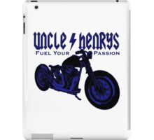 Bobber Motorcycle 'Fuel your Passion' in blue iPad Case/Skin