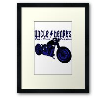 Bobber Motorcycle 'Fuel your Passion' in blue Framed Print