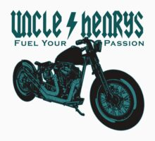 Bobber Motorcycle 'Fuel your Passion' in teal by UncleHenry