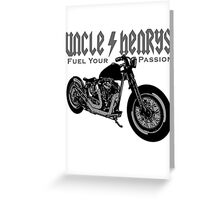 Bobber Motorcycle 'Fuel your Passion' in grey Greeting Card