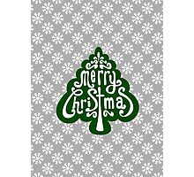 Green Merry Christmas Tree with Snowflakes Photographic Print
