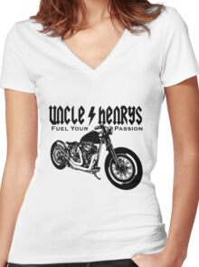 Bobber Motorcycle 'Fuel your Passion' in black Women's Fitted V-Neck T-Shirt