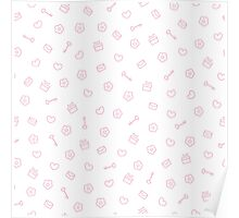 Cute pastel pattern. Seamless pretty pink background.  Poster