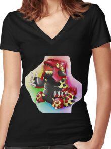 Primal Groudon Women's Fitted V-Neck T-Shirt