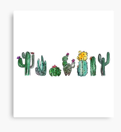 Watercolor Cactuses Canvas Print