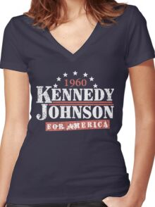 Vintage Kennedy Johnson 1960 Presidential Campaign Women's Fitted V-Neck T-Shirt