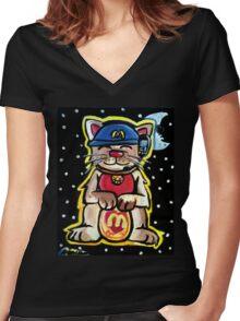 McKitty - McDonalds Lucky Cat Women's Fitted V-Neck T-Shirt