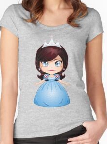 Princess With Black Hair In Blue Dress Women's Fitted Scoop T-Shirt