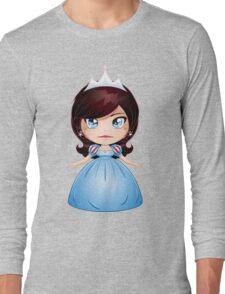 Princess With Black Hair In Blue Dress Long Sleeve T-Shirt