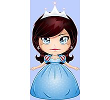 Princess With Black Hair In Blue Dress Photographic Print