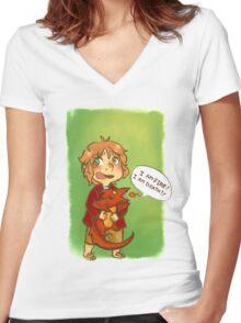 Hobbit: I Am Fire! I Am Death! Women's Fitted V-Neck T-Shirt