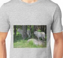 Arctic Wolf Pair in Forest Unisex T-Shirt