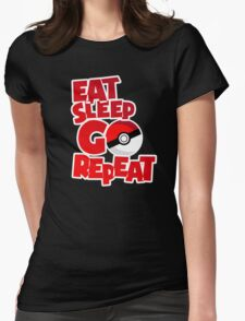 Eat Sleep Go Repeat - Red (Pokemon Go) Womens Fitted T-Shirt