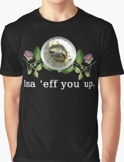 Sloth Flower Version with White Text Graphic T-Shirt