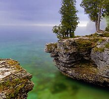 Misty Morning at Cave Point, Wisconsin by Kenneth Keifer