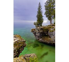 Misty Morning at Cave Point, Wisconsin Photographic Print