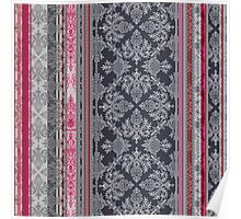Burgundy, Pink, Navy & Grey Vintage Bohemian Wallpaper Poster